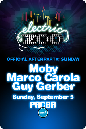 Flyer for Electric Zoo Official Afterparty, 09/05/10 at Pacha