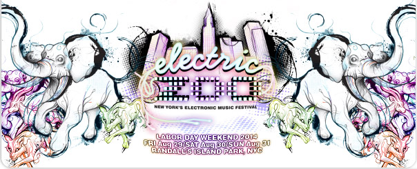 Electric Zoo NY 2014. Labor Day Weekend - Aug 29/30/31. Randall's Island Park, NYC