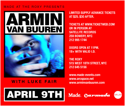 ARMIN VAN BUUREN AT THE ROXY flyer