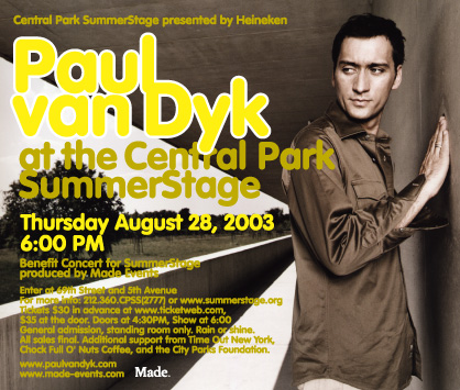 Paul Van Dyk at Central Park Summerstage flyer