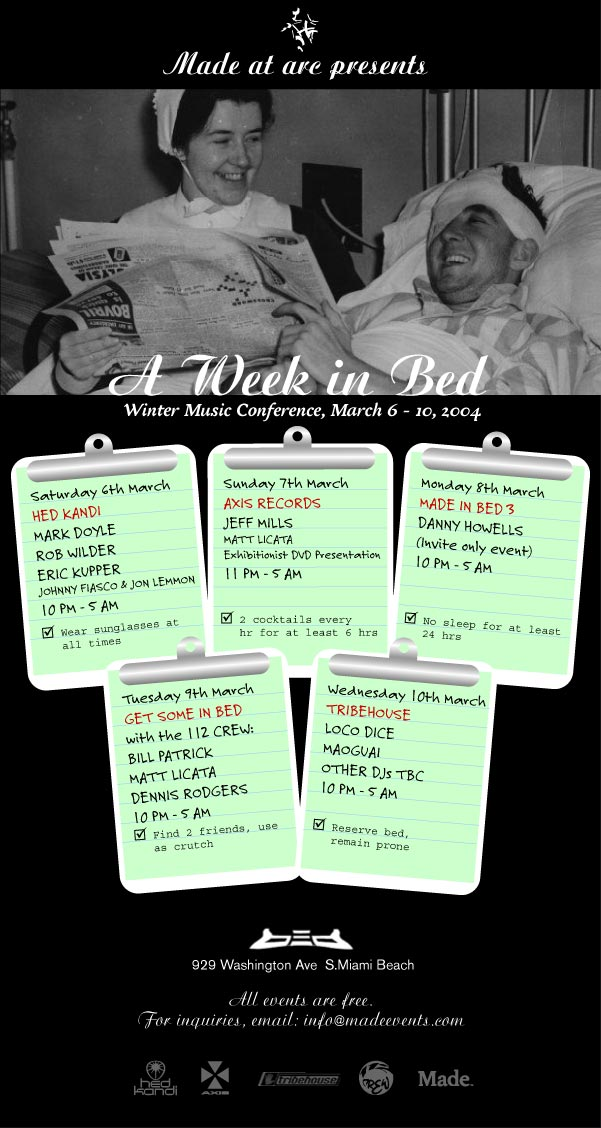 Made at arc presents A Week in Bed flyer