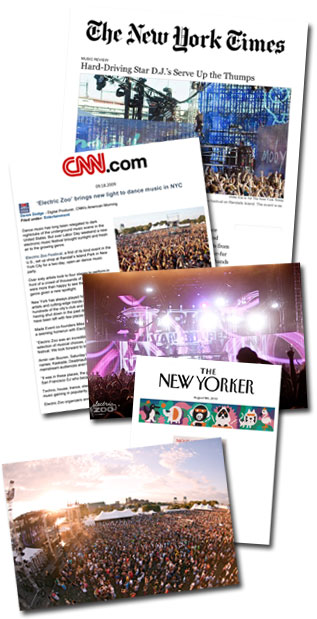 Montage of featured press coverage of Electric Zoo festival